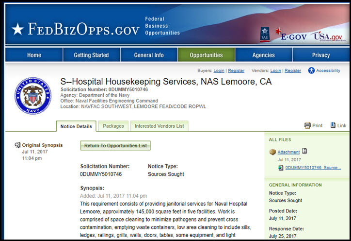 """Hospital Housekeeping Services, NAS Lemoore, CA"" with solicitation number: 0DUMMY5010746 (FBO.gov)"